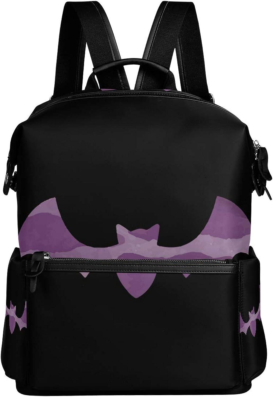 MONTOJ Purple Halloween Bat Leather Travel Bag Campus Backpack