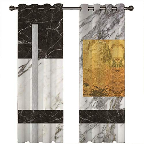 AMDXD Cortina Poliester Opaca, Cortinas Salon Modernas 2 Piezas Textura de Mármol Modernas Decoración para Habitación (2 Paneles, Blanco Negro Oro, Tamaños 274x274CM)
