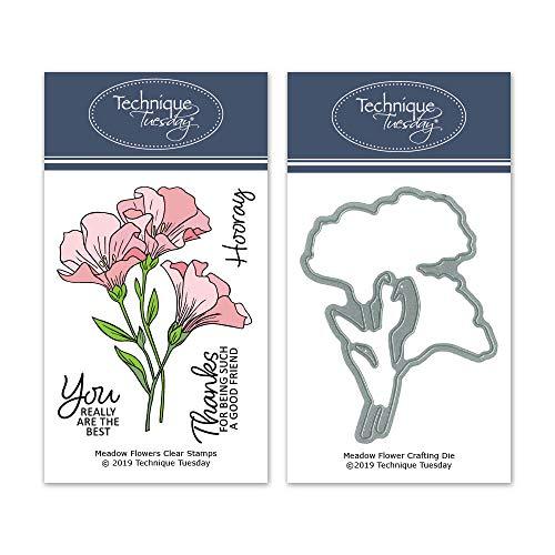 Meadow Flowers Clear Stamps with Matching Dies| Photopolymer Stamps | Clear Rubber Stamps | Matching Metal Dies | Die Cuts | Craft Dies | Cutting Dies