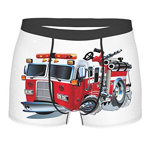 vhg8dweh Männerunterwäsche,Feuerwehr-Fahrzeug-Nothilfe für öffentliche Feuerwehr-Transport-Themen-LKW, Boxershorts Atmungsaktive Komfortunterhose Größe L