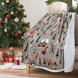 Catalonia Classy Weihnachtswurf Sherpa Decke, Superweiche Flauschige Sherpa Throw TV Decke Dekorative Decke für Bett Couch Urlaub Dekoration, 130 x 150 cm, Weihnachtsbaummuster