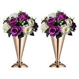 Sziqiqi Trumpet Vase Floral Centerpiece Riser Stand for Wedding Reception Centerpieces Party Event Anniversary Birthday Decoration Flower Arrangement Pack of 2, Rose Gold 9.8in
