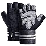 "Trideer Ventilated Workout Gloves for Men Weight Lifting, Gym Exercise Gloves, Weight Lifting Gloves with 19"" High Elastic Wrist Strap, Suit for Dumbbell, Cycling, Fitness, Cross Training (Black, L )"