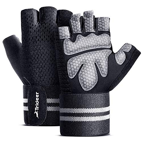 TriDeer Workout Gloves Men Women with Grip, Weight Lifting Gloves with Wrist Support, Gym Exercise Gloves for Weightlifting, Weight Training, Crossfit, Fitness, Work Out(Black, XL)
