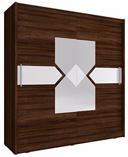 Sarah - Armario de 7 a 2 puertas correderas con espejo grande, estilo moderno, efecto madera marrón oscuro, 200 cm