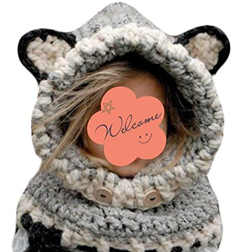 JERKKY kinderen winterhaak gebreide muts wrap cartoon dier oorflap hood sjaal schedel kap C #