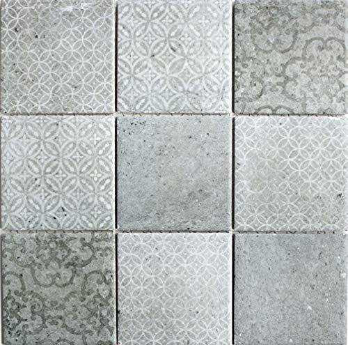 Retro Vintage Mosaik Fliese Keramik grau für WAND BAD WC DUSCHE KÜCHE FLIESENSPIEGEL THEKENVERKLEIDUNG BADEWANNENVERKLEIDUNG WB22-CELLO