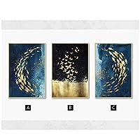 壁の芸術、黄金の魚の蝶のキャンバスの絵画抽象ポスターとプリント壁の写真のリビングルームの装飾フレームなし