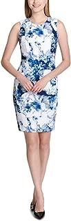 Calvin Klein Floral-Print Sheath Dress, White/Blue, 10