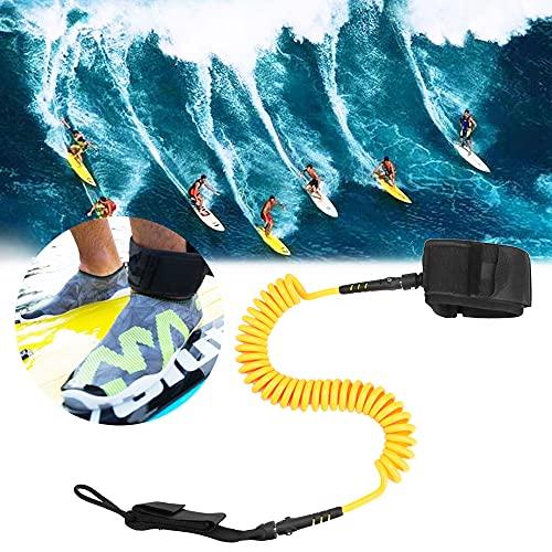 EMAGEREN Invento Paddle Surf Leash para Tabla de Surf de 7 mm 10 Pies Correa para Tabla de Surf de TPU Leash para Paddle Surf Ajustable con Correa de Velcro para Todo Tipo de Tablas de Surf - Amarillo