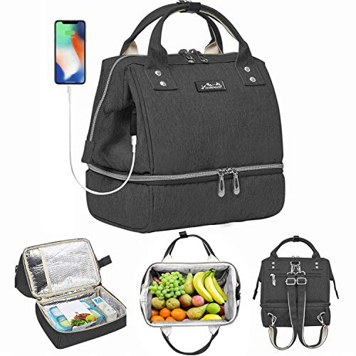 Viedouce Insulated Lunch Bag for Women Girls Lunch Box Cooler Backpack Small Breast Pump Bag Wallet Purse with USB Charging Port, Black