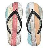 Mnsruu Vintage madera tablero color flip flops sandalias hogar zapatillas hotel spa dormitorio viajes S para hombres mujeres