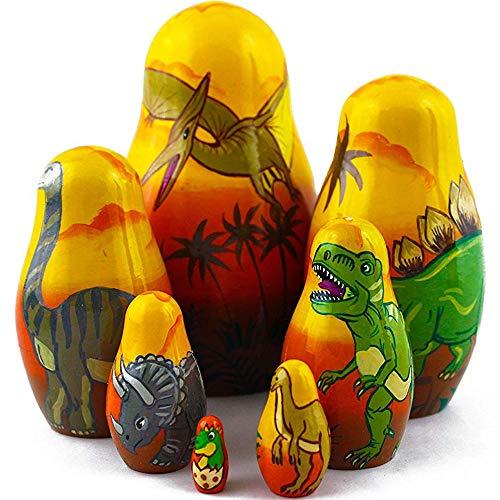 Dinosaur Nesting Dolls - Matryoshka Set 7 Dolls - Dinosaur Toy - Dinosaur Gifts - Dinosaur Decor