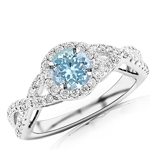 1.18 Carat t.w 14K White Gold Twisting Split Shank Eternity Love Halo Style Diamond Engagement Ring w/a 0.75 Carat Round Cut Blue Aquamarine Heirloom Quality