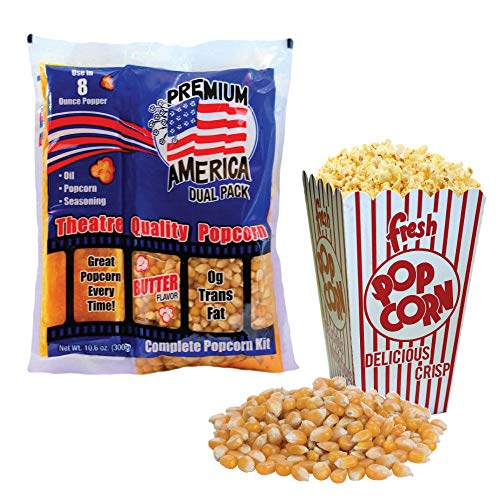 Premium America All in One Pack Popcorn | Premeasured Theatre Quality Kernels for Kettle Popcorn Machines. 24 Individual 8oz Portion Bags per case Butter Flavoured