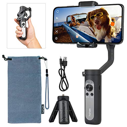 hohem 3-Axis Gimbal Stabilizer for Smartphone, Phone Stabilizer 0.5lbs Lightweight Foldable Handheld Gimble for iPhone 11 Pro Max/11/XS Max/Samsung/Android Video Vlogging Youtuber iSteady X Black
