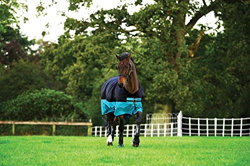 Horseware Amigo Mio Turnout Lite ohne Füllung Regendecke Black & Turquoise 115-160 (145)