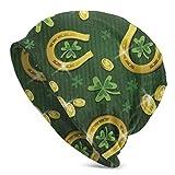 Bonnet Beanie Classique plissé,Pièce d'or et Fer à Cheval de St. Patrick 's Clover,Bonnet Beanie Long,Unisexe