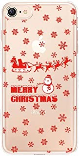 Lartin Merry Christmas Series Clear Soft Flexible Jellybean Gel TPU Case for iPhone 7 / iPhone 8 (Snowman and Snowflakes)