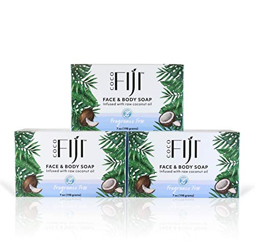 New Coco Fiji, Coconut Oil Infused Soap, Fragrance Free 7oz (3pk)