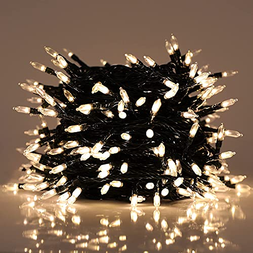 Led String Lights Outdoor, 300 LED Mini Fairy Bulbs 98.43FT Wire Lights Plug in,8 Lighting Modes, for Indoor, Bedroom,Christmas ,Halloween ,Garden Decoration(Warm White)
