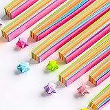 Fluoreszierendes Origami-Papier, 9 Farben, 140 Stück DIY helle Farbe, Glückstern-Papierstreifen, Origami, einfaches Muster, Quilling-Papier