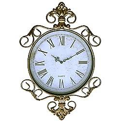 LuLu Decor, Antique Roman Metal Wall Clock in Fleur De Lis Design for Living Room & Office Space (LH170)