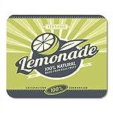 マウスパッドレモンスライスとレモネードレトロな100%ナチュラルドリンクヴィンテージラベルオーガニックフルーツ製品マウスパッドラップトップ、デスクトップコンピューターオフィス用品マウスマット
