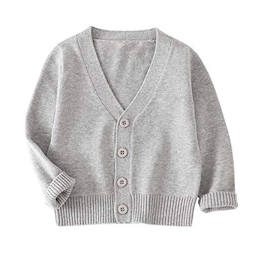 Autumn - Felpa invernale da bambina, lavorata a maglia, in cotone grigio 4 anni
