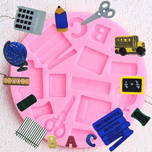 YTYASO Globo Libro de Estudio Regla de Coche Bolígrafo Escolar Molde de Silicona Fondant Decoración de Pasteles Cupcake Caramelo Moldes de Chocolate