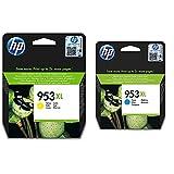 Hp Ink Cartridge No 953Xl Yellow Supl + 953Xl F6U16Ae, Cian, Cartucho De Tinta De Alta Capacidad Original