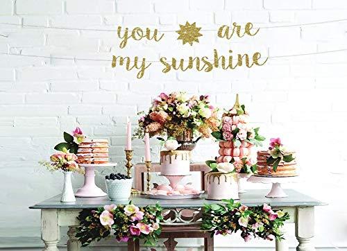 Banner You Are My Sunshine Banner You Are My Sunshine Sign Baby Shower Banner de cumpleaños para niñas con purpurina para decoración de fiesta de bebé