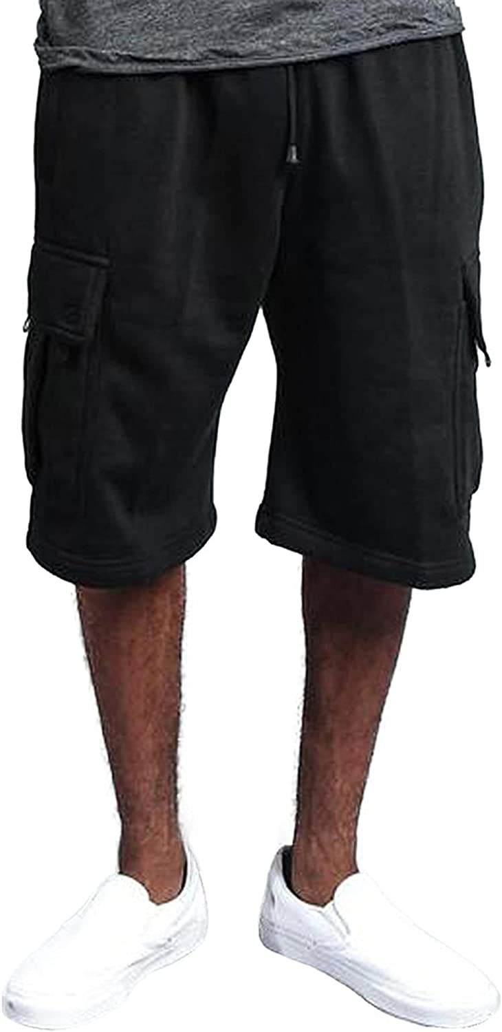 FlekmanArt Mens Solid Cargo Shorts Relaxed Fit Multi-Pocket Outdoor Shorts Cotton Belted Tactical Shorts Lightweight Trousers
