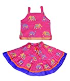 Anchal Collection Baby Girl's Cotton Readymade Lehenga Choli (HT-1_Pink_0-6 Months)