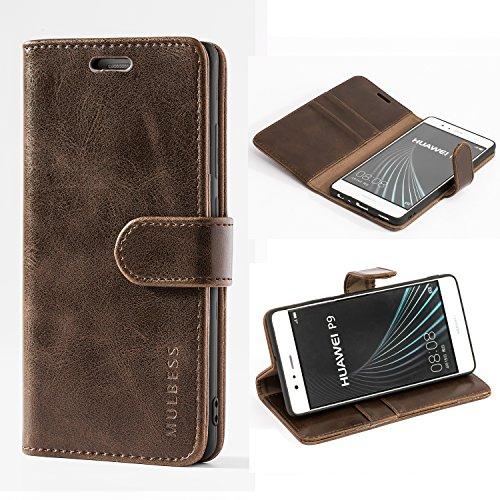 Mulbess Handyhülle für Huawei P9 Hülle Leder, Huawei P9 Handy Hülle, Vintage Flip Handytasche Schutzhülle für Huawei P9 Case, Kaffee Braun