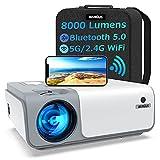Proiettore WiMiUS WiFi Bluetooth 5G, Proiettore 8000 Lumen Full HD Nativo 1080P Supporto 4K 4D, Proiettore per Telefono Compatibile con HDMI / PS4 / USB / TV Stick, Proiettore 250' per Home Cinema