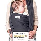 Mammacita Tragetuch Baby aus OEKO-TEX Baumwolle - Babytragetuch von Hebamme entwickelt - Baby Tragetuch für Neugeborene bis 15kg - Baby Carrier 5m lang inkl. Beutel & Bindeanleitung