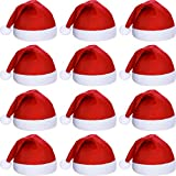 12 Pieces Santa Hats Christmas Non Woven Fabric Hat for Holidays Xmas Party Supplies (Red)