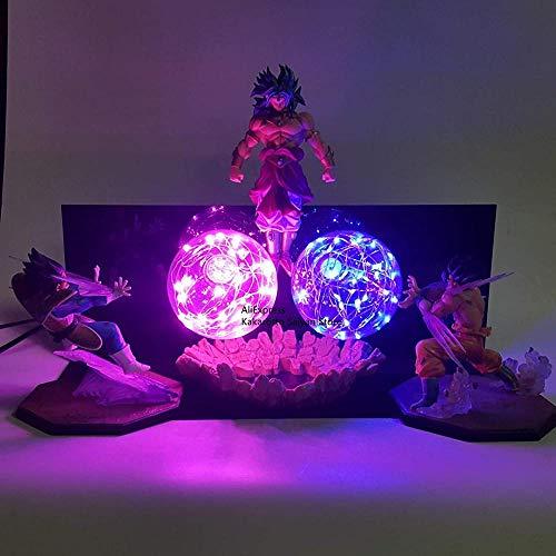 Modelo de Anime - Dragon Ball Z Goku Vegeta Vs Broly Lámpara LED Figuras de acción Super Kamehameha DBZ Juguete Figuras de acción para niños