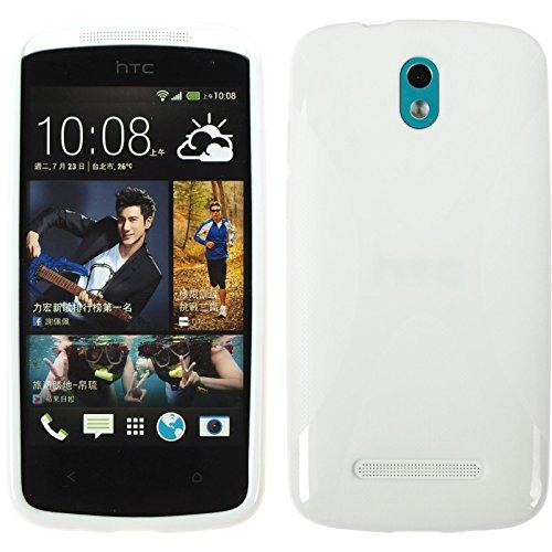 PhoneNatic Hülle für HTC Desire 500 Hülle Silikon weiß X-Style Cover Desire 500 Tasche + 2 Schutzfolien