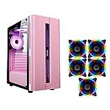 ゲーミングケース、ミッドタワーATX/M-ATX/ITX PCゲームコンピュータケース、透明サイド、デスクトップPCのコンピュータ用の設定カラフルなファン、 (Color : Pink, Size : 5 fan)