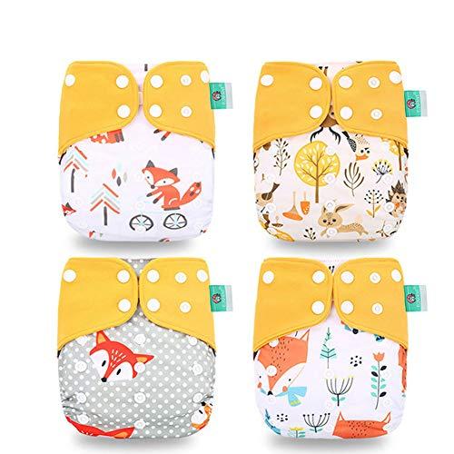 HahaGo Pañal de tela para bebé Pañales reutilizables lavables Inserte el de bolsillo todo en uno para la mayoría de los bebés y niños pequeños (Actualizaciones) (Naranja, zorro)