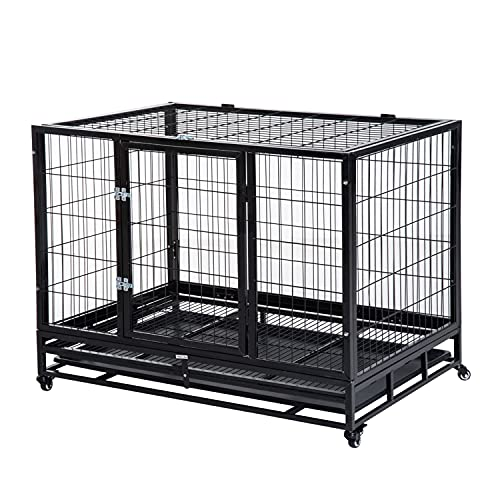 PawHut 38' Heavy Duty Metal Dog Kennel Pet Cage with Crate Tray and Wheels...