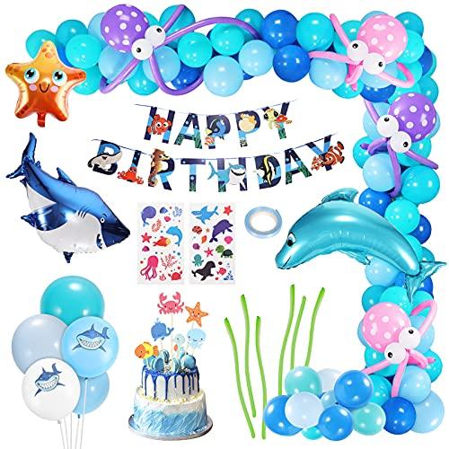 Gafild Kindergeburtstag Deko, Ozean Geburtstagsdeko Geburtstag Dekorationen Luftballons mit Happy Birthday Dekoration Banner mit Weißer Hai, Seestern, Clownfisch, Delphin für Junge Mädchen Geburtstag