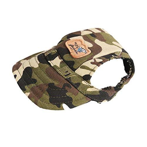 Contever Haustier Hunde Hüte mit Ohr-Löcher Verstellbarem Canvas Baseballmütze für Kleine Hunde oder Katzen- Größe S camouflage
