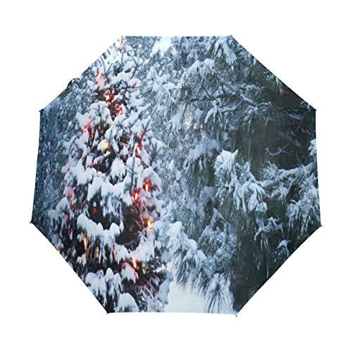 Bigjoke Regenschirm, zusammenklappbar, automatischer Öffnung, Schnee, Weihnachtsbaum, Winddicht, für Reisen, leicht, UV-Schutz, kompakt für Jungen, Mädchen, Männer, Frauen
