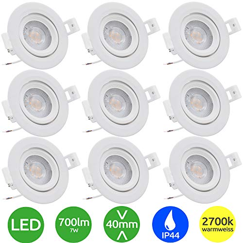 9x Evolution Foco empotrable LED 7W 770lm Proyector IP44 230V 40.5mm Baño y sala de estar abatibles 2700k Focos de techo