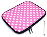 emartbuy ® Bundle Pack Of White Stylus Pen & Polka Dots Pink/White (7 Zoll Tablet/Ereader/Netbook) Water Resistant Neoprene Soft-Zip Case/Cover Für Odys Neo X7 Tablet (7 Zoll Tablet)