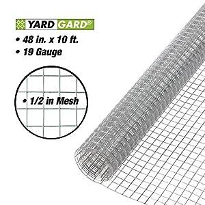 YARDGARD 308230B 19 Gauge 1/2 Inch Mesh 4 Foot x 10 Foot Galvanized Hardware Cloth