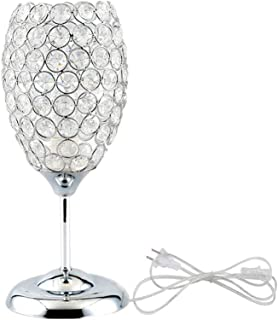 Onerbuy Modern Crystal Table Lamp Plug in Bedside Lamp Chrome Silver Nightstand Desk Lamp with On/Off Switch in Line for Bedroom, Living Room, Office, Dining Room, Hotel, Restaurant
